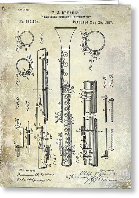 Philharmonic Greeting Cards - 1897 Clarinet Patent  Greeting Card by Jon Neidert