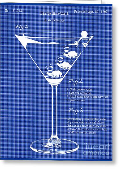 Martini Greeting Cards - 1897 Dirty Martini Blueprint Greeting Card by Jon Neidert