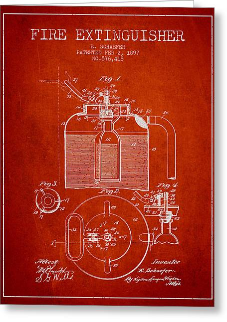 Fire Department Greeting Cards - 1897 Fire Extinguisher Patent - red Greeting Card by Aged Pixel