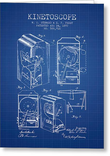 Camera Greeting Cards - 1897 Kinetoscope Patent - Blueprint Greeting Card by Aged Pixel