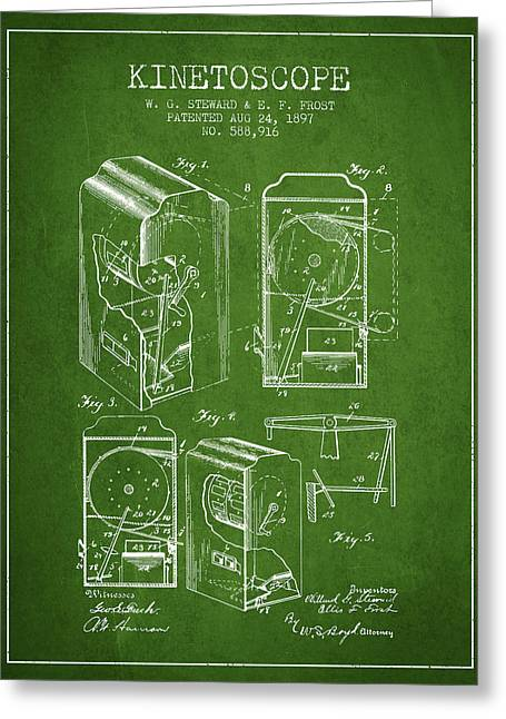 Old Camera Greeting Cards - 1897 Kinetoscope Patent - Green Greeting Card by Aged Pixel