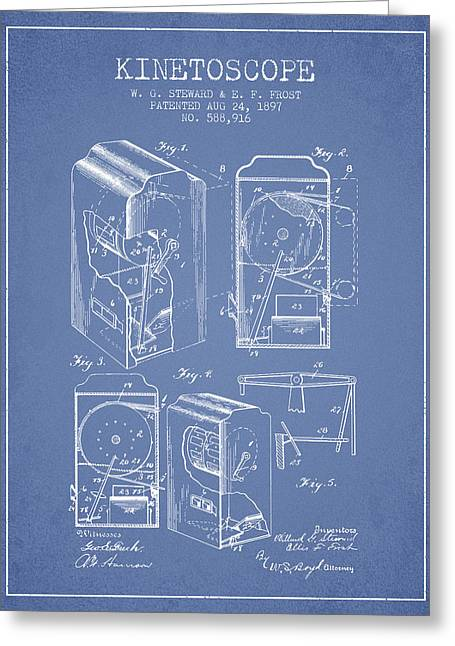 Exposure Drawings Greeting Cards - 1897 Kinetoscope Patent - Light Blue Greeting Card by Aged Pixel