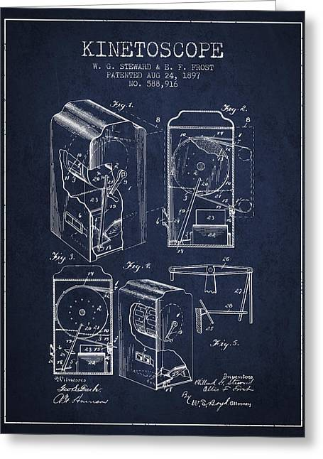 Old Camera Greeting Cards - 1897 Kinetoscope Patent - Navy Blue Greeting Card by Aged Pixel