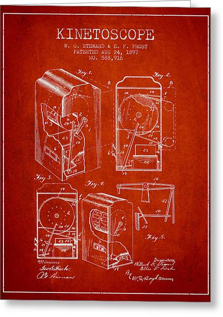 Exposure Drawings Greeting Cards - 1897 Kinetoscope Patent - red Greeting Card by Aged Pixel
