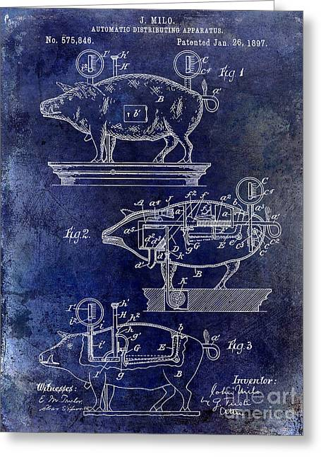 Swine Greeting Cards - 1897 Pig Patent Drawing Blue Greeting Card by Jon Neidert