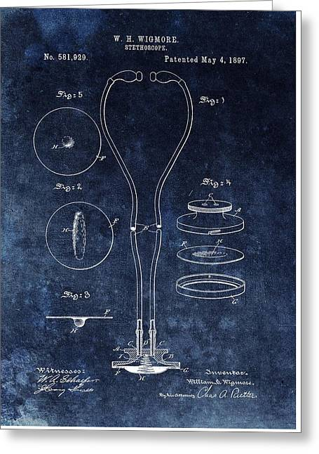 1897 Stethoscope Patent Greeting Card by Dan Sproul