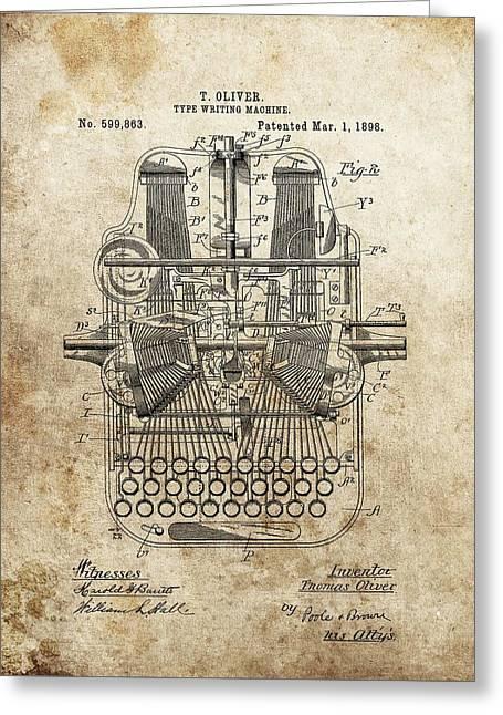 Remington Greeting Cards - 1898 Typewriter Patent Greeting Card by Dan Sproul