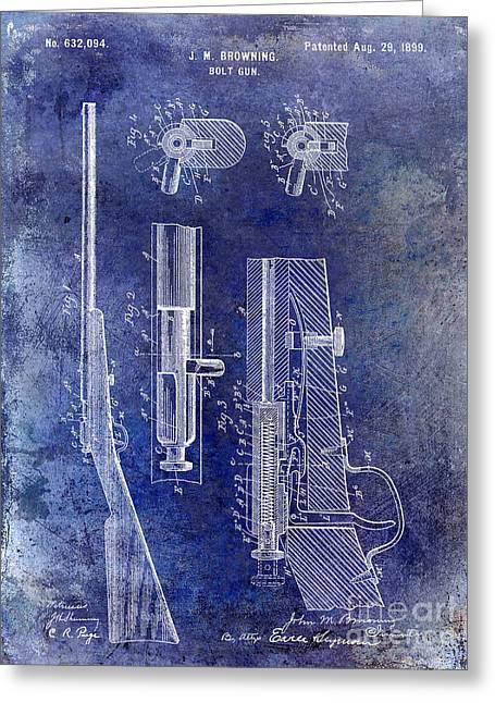 Rifle Photographs Greeting Cards - 1899 Bolt Gun Patent Blue Greeting Card by Jon Neidert