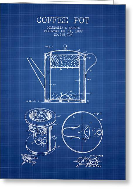 Pot Drawings Greeting Cards - 1899 Coffee Pot patent - Blueprint Greeting Card by Aged Pixel