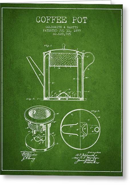 Pot Drawings Greeting Cards - 1899 Coffee Pot patent - green Greeting Card by Aged Pixel