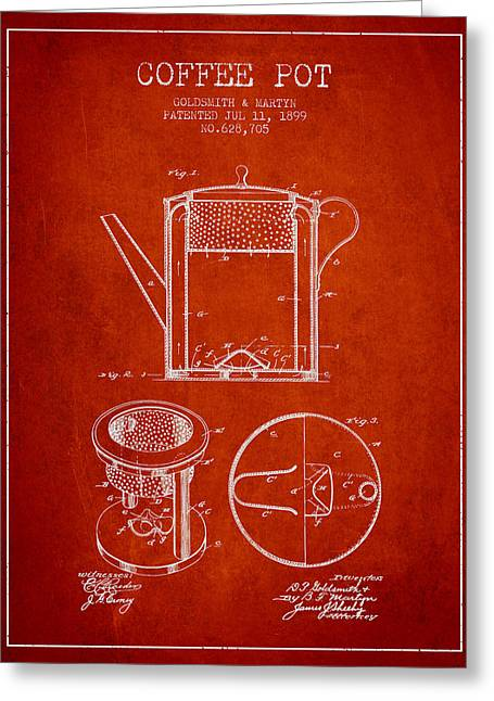 Pot Drawings Greeting Cards - 1899 Coffee Pot patent - red Greeting Card by Aged Pixel