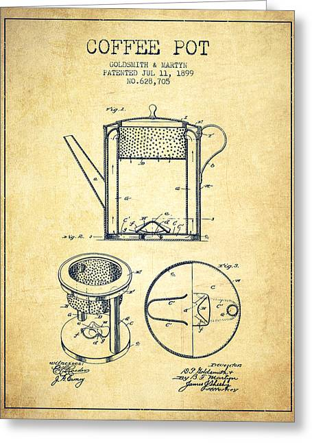 Pot Drawings Greeting Cards - 1899 Coffee Pot patent - vintage Greeting Card by Aged Pixel