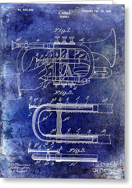 Marching Band Greeting Cards - 1899 Cornet Patent Blue Greeting Card by Jon Neidert