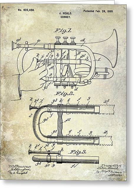 1899 Cornet Patent Greeting Card by Jon Neidert