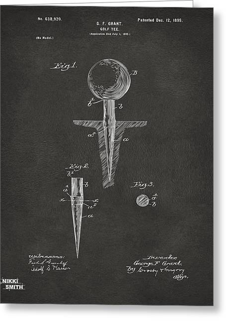 Us History Drawings Greeting Cards - 1899 Golf Tee Patent Artwork - Gray Greeting Card by Nikki Marie Smith