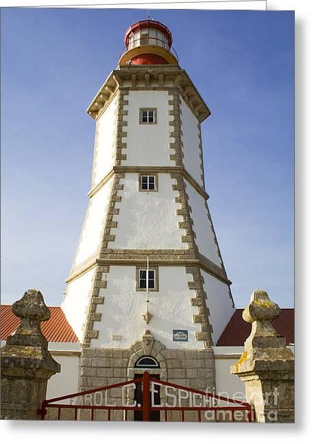 Lighthouse Tower Greeting Cards - 18th century Espichel Cape lighthouse Greeting Card by Jose Elias - Sofia Pereira