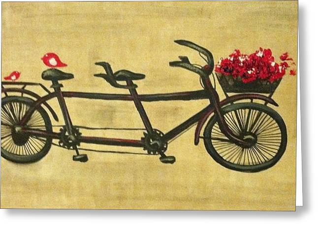 Tandem Bicycle Greeting Cards - 18x36 Premium Gallery tandem bicycle painting with red birds red flowers Greeting Card by Candice Griffy