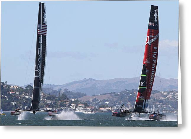 Americas Cup Greeting Cards - Americas Cup San Francisco Greeting Card by Steven Lapkin