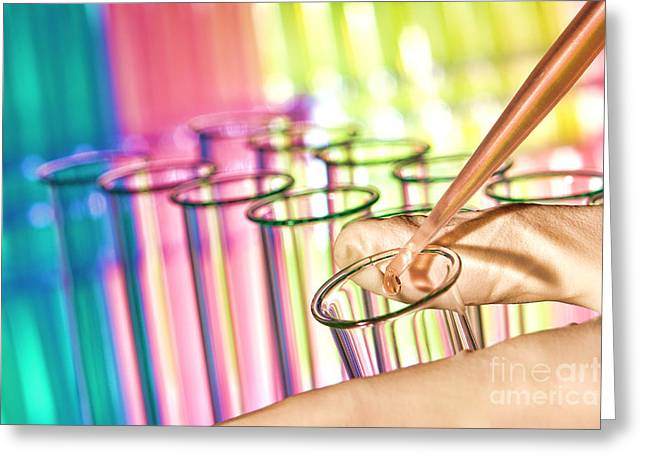 Chemicals Greeting Cards - Scientific Experiment in Science Research Lab Greeting Card by Olivier Le Queinec