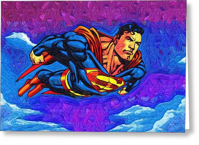 Superman Costume Greeting Card by Egor Vysockiy