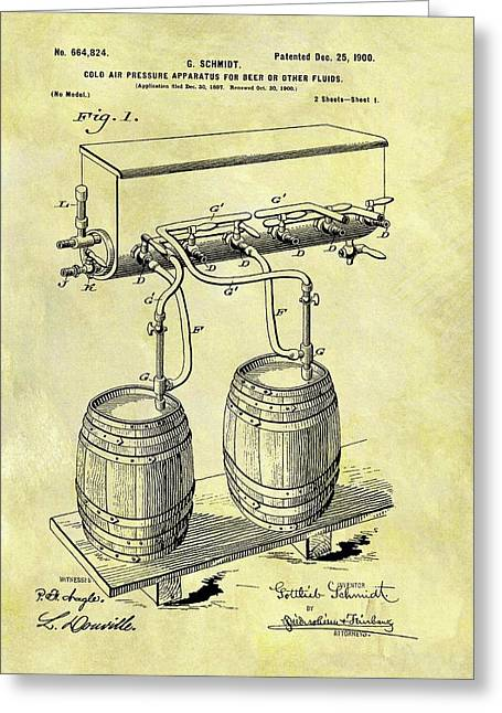 1900 Beer Cooler Patent Greeting Card by Dan Sproul