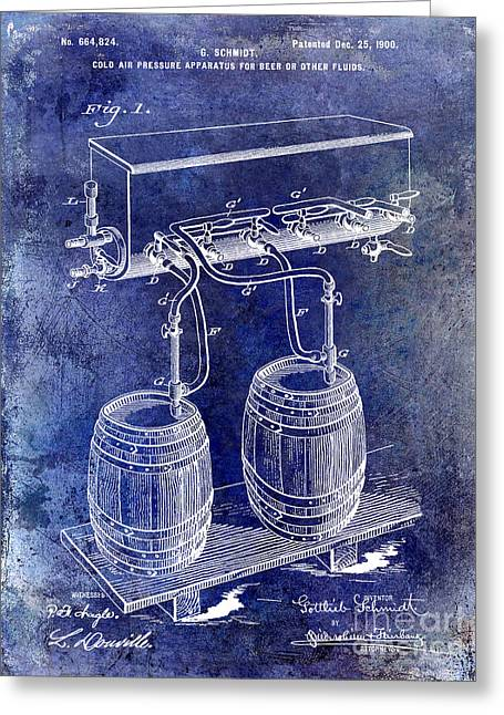 Stein Greeting Cards - 1900 Beer Keg System Patent Greeting Card by Jon Neidert
