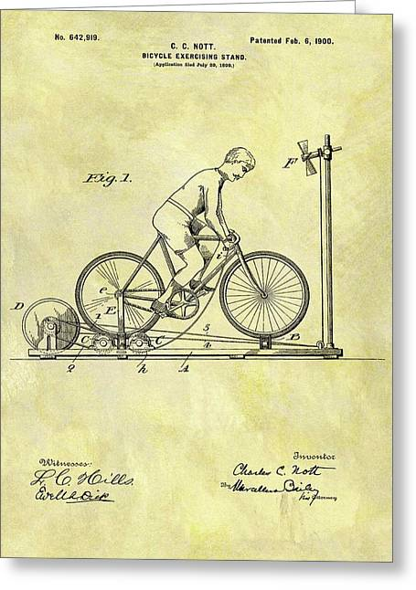 1900 Exercising Bicycle Patent Greeting Card by Dan Sproul