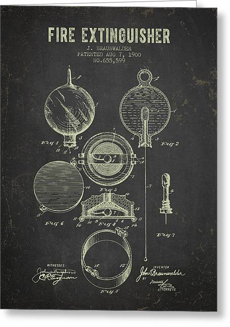 Rescue Greeting Cards - 1900 Fire Extinguisher Patent - Dark Grunge Greeting Card by Aged Pixel