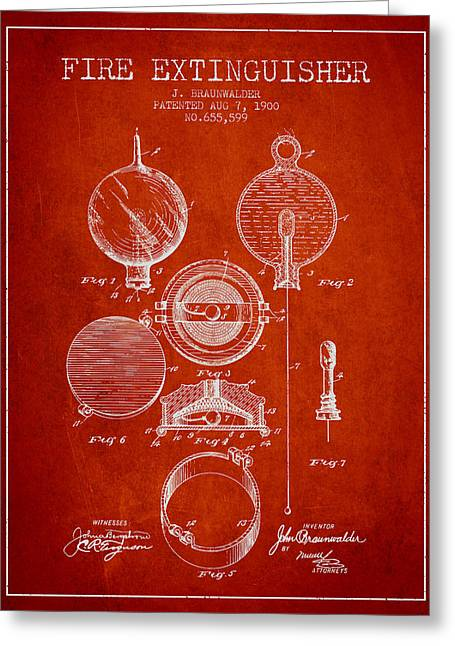 Fire Department Greeting Cards - 1900 Fire Extinguisher Patent - red Greeting Card by Aged Pixel