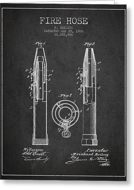 Fire Hose Greeting Cards - 1900 Fire Hose Patent - charcoal Greeting Card by Aged Pixel