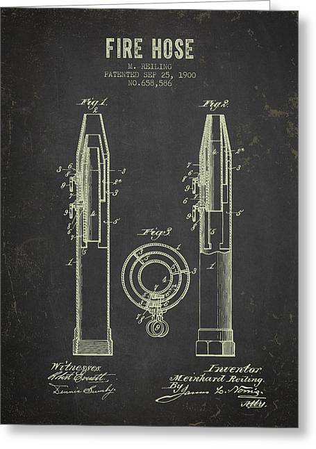 Hoses Greeting Cards - 1900 Fire Hose Patent- Dark Grunge Greeting Card by Aged Pixel