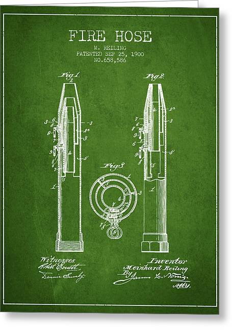 Fire Hose Greeting Cards - 1900 Fire Hose Patent - green Greeting Card by Aged Pixel