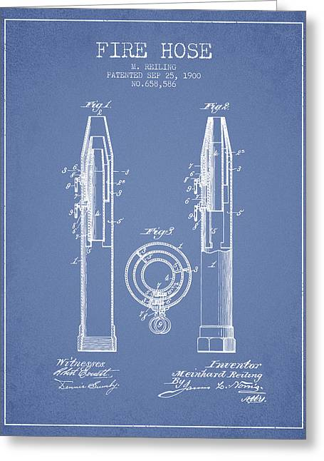 Fire Hose Greeting Cards - 1900 Fire Hose Patent - light blue Greeting Card by Aged Pixel