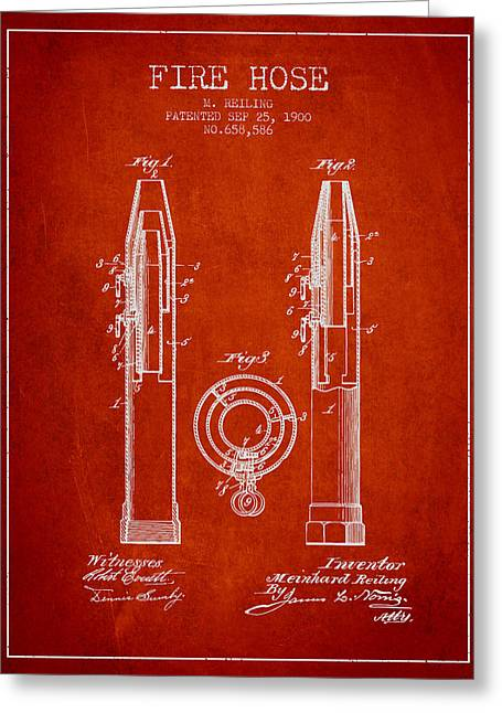 Fire Hose Greeting Cards - 1900 Fire Hose Patent - red Greeting Card by Aged Pixel