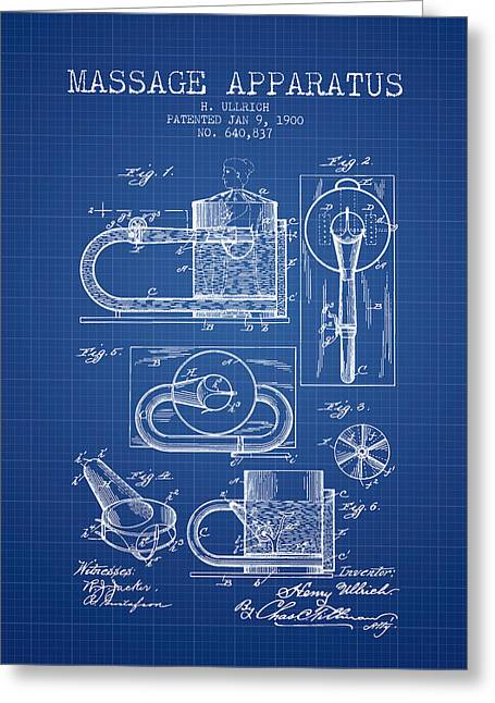 Wellbeing Drawings Greeting Cards - 1900 Massage Apparatus patent - Blueprint Greeting Card by Aged Pixel