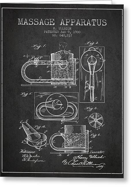 Spa Drawings Greeting Cards - 1900 Massage Apparatus patent - Charcoal Greeting Card by Aged Pixel