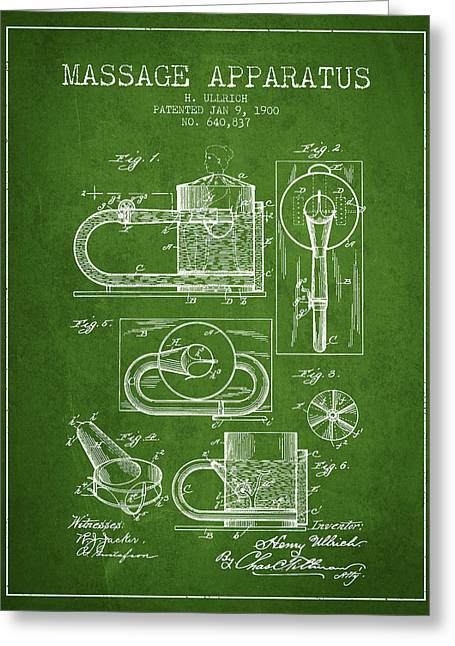 Spa Drawings Greeting Cards - 1900 Massage Apparatus patent - Green Greeting Card by Aged Pixel