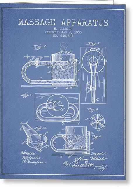 Spa Drawings Greeting Cards - 1900 Massage Apparatus patent - Light Blue Greeting Card by Aged Pixel