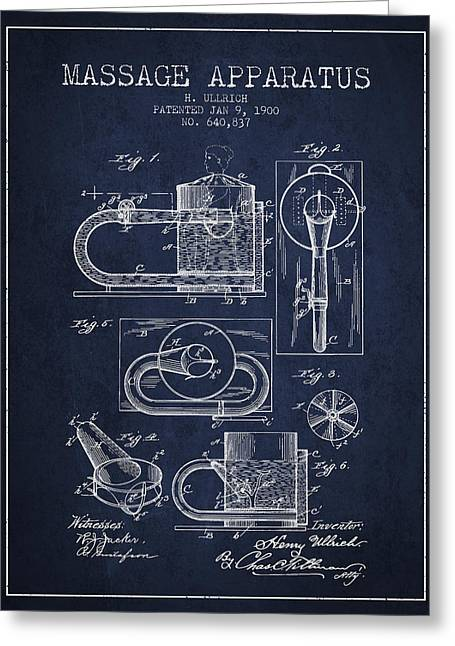 Wellbeing Drawings Greeting Cards - 1900 Massage Apparatus patent - Navy Blue Greeting Card by Aged Pixel