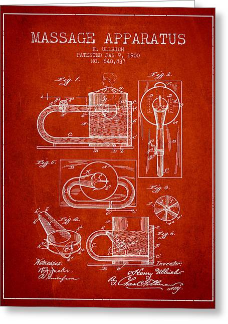 Wellbeing Drawings Greeting Cards - 1900 Massage Apparatus patent - red Greeting Card by Aged Pixel