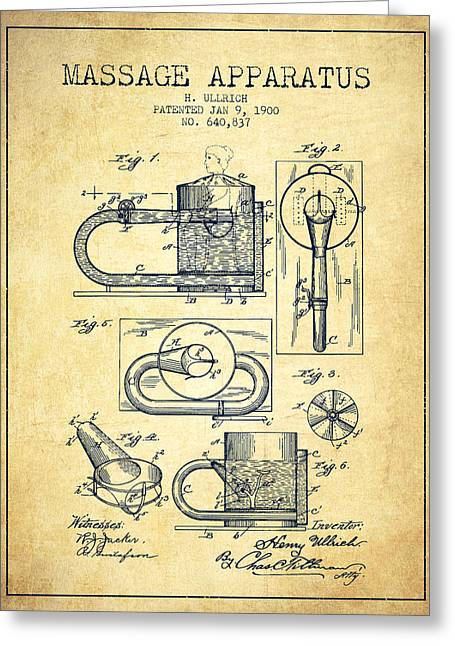 Spa Drawings Greeting Cards - 1900 Massage Apparatus patent - Vintage Greeting Card by Aged Pixel