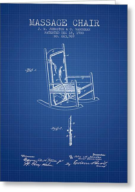 Wellbeing Drawings Greeting Cards - 1900 Massage Chair patent - Blueprint Greeting Card by Aged Pixel