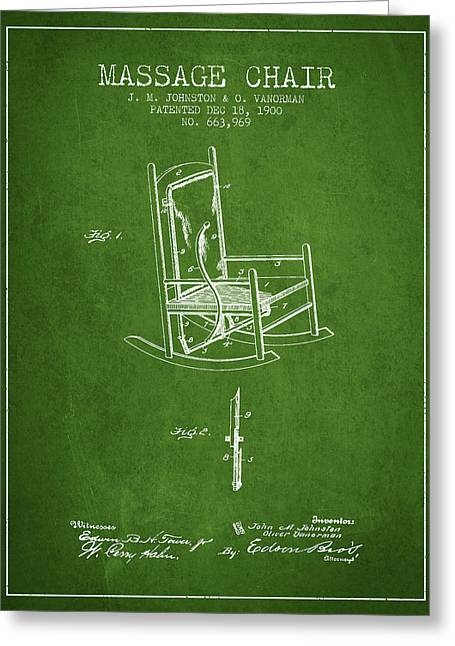 Spa Drawings Greeting Cards - 1900 Massage Chair patent - Green Greeting Card by Aged Pixel