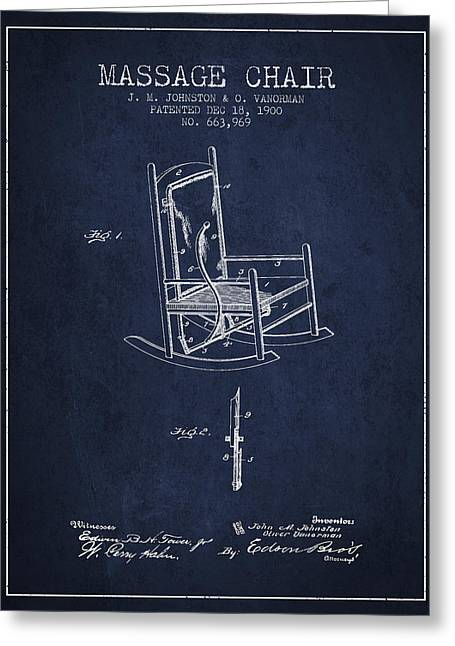 Treatment Greeting Cards - 1900 Massage Chair patent - Navy Blue Greeting Card by Aged Pixel