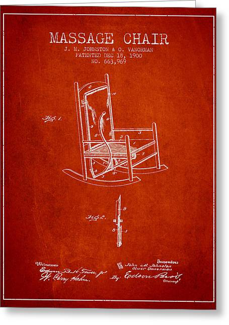 Treatment Greeting Cards - 1900 Massage Chair patent - Red Greeting Card by Aged Pixel