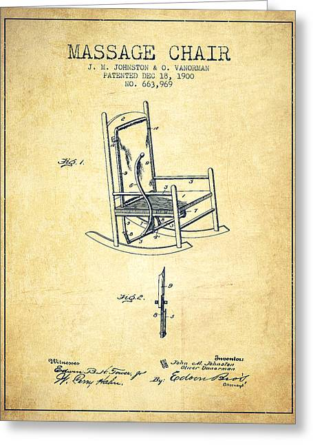 Spa Drawings Greeting Cards - 1900 Massage Chair patent - Vintage Greeting Card by Aged Pixel