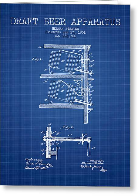 Tap Drawings Greeting Cards - 1901 Draft Beer Apparatus - Blueprint Greeting Card by Aged Pixel