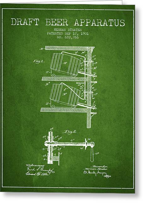 Beer Drawings Greeting Cards - 1901 Draft Beer Apparatus - Green Greeting Card by Aged Pixel
