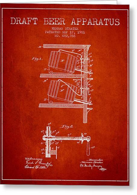 Beer Drawings Greeting Cards - 1901 Draft Beer Apparatus - Red Greeting Card by Aged Pixel