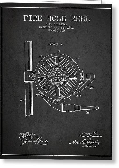 Fire Hose Greeting Cards - 1901 Fire Hose Reel Patent - charcoal Greeting Card by Aged Pixel